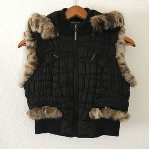 Guess Quilted Fur Vest Removable Hood